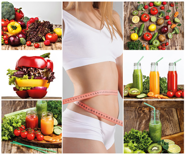 Young healthy woman with vegetables. Collage